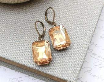 Golden Glass Earrings Topaz Rhinestones Big Jewel Yellow Glass Gems Vintage Style Jewellery Old Hollywood Glam Nickel Free Leverback