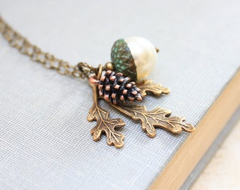 Pearl Acorn Neckace Nature Charm Pendant Copper Pinecone Antique Gold Brass Branch Leaf Rustic Oak Woodland Acessories Gift for Women