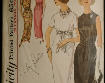 Simplicity 5224 Misses Evening Dress or Gown Vintage 60's Sewing Pattern MAD MEN Style  Sz 16
