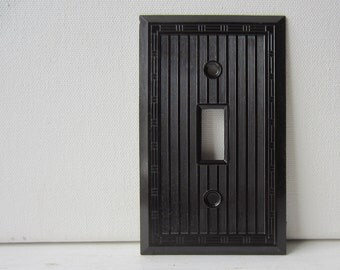 Vintage Art Deco Brown Bakelite Single Light Switch Cover - Switch Plate - New Old Stock w/ Original Screws - Qty Available - Smoothie