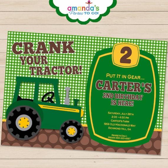 Tractor Invitation Printable John Deere By AmandasPartiesToGo