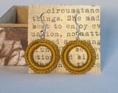 Golden Crochet Hoop Dangle Earrings