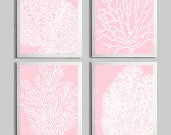 Coral Ocean Beach Sea Prints Pale Pink Custom Colors set of 4
