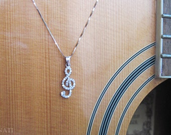 Music note diamond pendant, Treble Clef diamond pendant, You are my music diamond necklace, Designer 14k gold music note necklace
