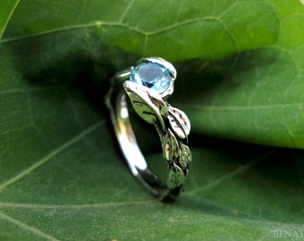 Leaf Ring With Blue Topaz Gemstone In Silver, Blue topaz Leaves Ring, Nature Friendship Ring, Silver Forest Ring, Natural Floral Silver Ring