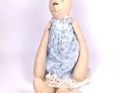 Cottage Bear - Blue Floral Dress with Lace - Artist Bear
