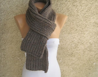 Tweed Scarf Men Long Thick, Taupe Wool Acrylic Double Face Scarf, Rib Pattern Knitted Winter Scarf, Fall Women Accessorie, Christmas Gift