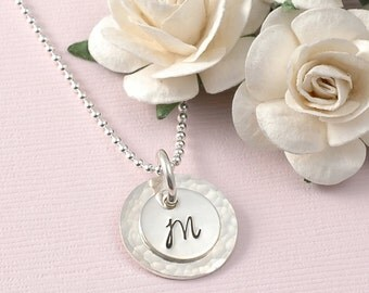 Initial Necklace - hand stamped - Hammered - Double stacked - personalized