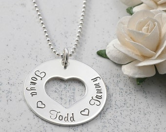 Sterling Silver Washer Style Pendant with Heart - Personalized - 1 inch size