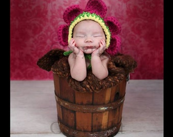 Newborn Flower Bonnet, Baby Flower Bonnet, Newborn Girl Crochet Hat, Baby Girl Crochet Photo Prop