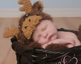 Newborn Photo Prop, Baby Moose Hat, Crochet Moose Hat, Newborn Moose Hat, Fuzzy Moose Hat, Baby Photography