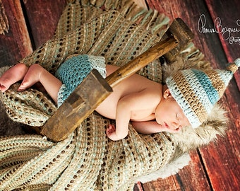 Newborn Hat and Shorts Set, Baby Boy Knotted Hat and Shorts, Baby Boy Hat and Diaper, Newborn  Crochet PHOTO PROP