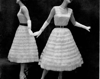 1950's Vintage Crochet Dress Pattern - Columbia Minerva - Parisien Lace Dress