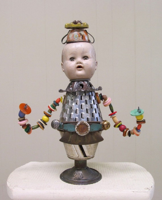 Steampunk Vintage Baby Doll Found Objects Assemblage Art Doll Sculpture