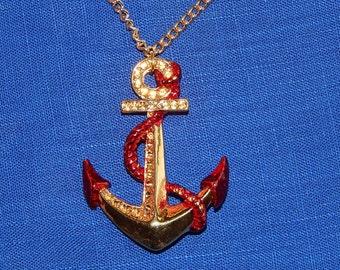 Large vintage 80's 90's MONET gold red metal anchor sailor pendant necklace Deadstock