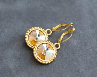 November Birthstone Earrings, Gold Citrine Earrings, Birthstone Jewelry, Dangles, Champagne Citrine Drop Earrings