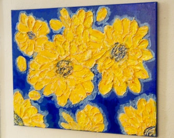 Original Abstract Heavy textured Sunflowers in the Blue. Painted with acrylic on 16x20 gallery warpped canvas. Edges painted