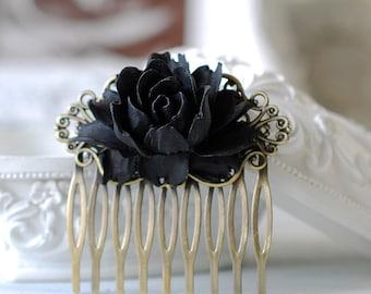 Black Rose Flower Hair Comb. Goth Gothic Hair Accessory, Black Wedding Bridal Hair Comb, Gothic Wedding Hair Accessory, Holloween