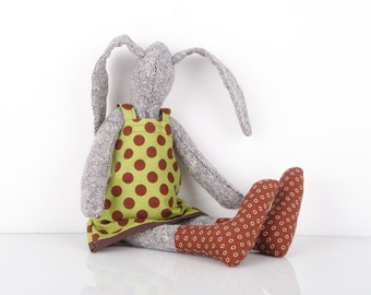 Plush Gray rabbit made from knitted pure silk , in olive green dress with deep oxblood  Polka Dots and brown socks ,timohandmade eco doll