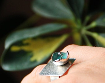 Sterling SILVER statement RING BLOOM, big coctail ring hand crafted by ARUMIdesign, made to order