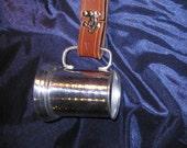 Mug Frog w/ Tankard tooled latigo leather belt hanger SCA LARP