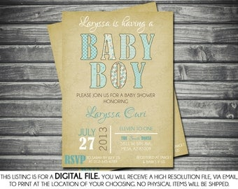 Boys Baby Shower Invitation - Modern, Brown, Blue, Tan Printable, Digital