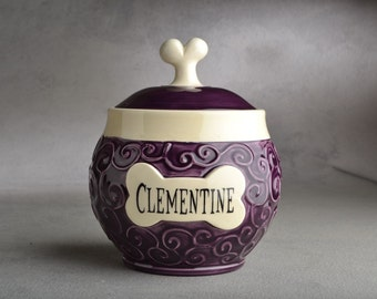Dog Treat Jar  Made To Order Curls Purple Pet Treat Jar by Symmetrical Pottery