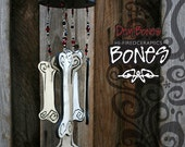 Gothic Bones Wind Chime - Red and Black Glass Beads Silver Wire Outdoor Decoration