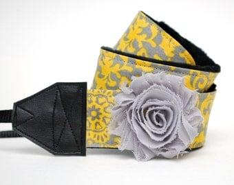 Camera Strap slr - Delilah with Gray Flower