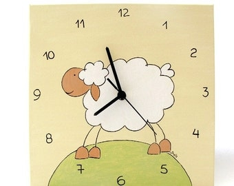 Clock- children clock, nursery clock, lamb cream, white,and green canvas kids clock, unique clock, square clock