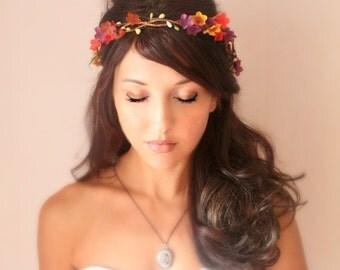 Autumn Wedding Tiara, Fall Flower Crown,  red, orange, purple, whimsical fairy wedding, bridal accessories, wedding hair - Le Automne -