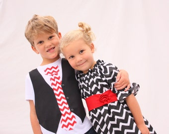 Sibling Christmas set, brother sister chevron outfits, Christmas outfits for sister brother