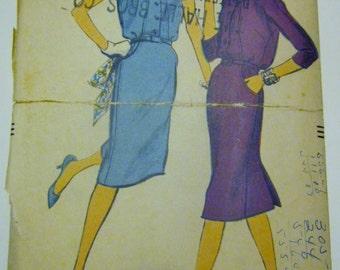 Vogue 9611 Womens 1950s Slim Dress Sewing Pattern Bust 32