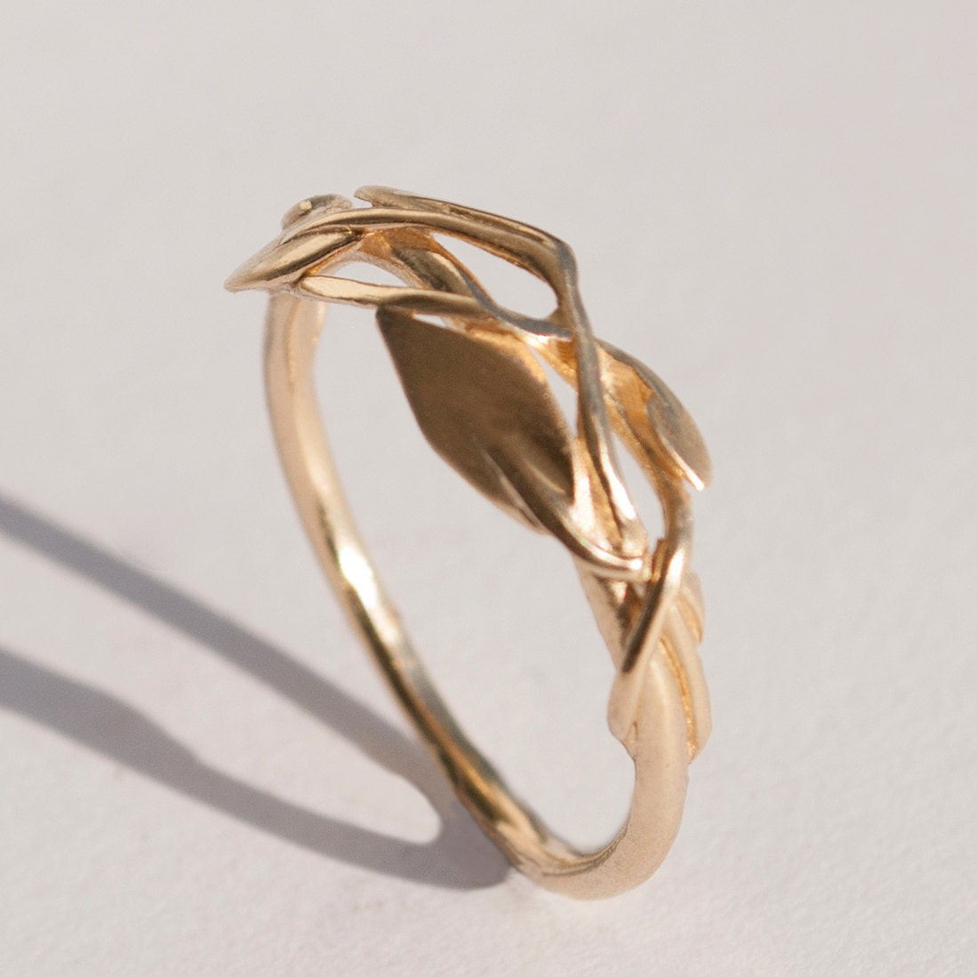 leaves ring no2 14k gold ring unisex ring wedding ring With leaf wedding ring