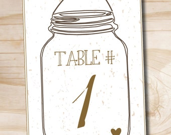 Mason Jar Table Numbers - 5x7 Numbers 1-20 - Instant Download