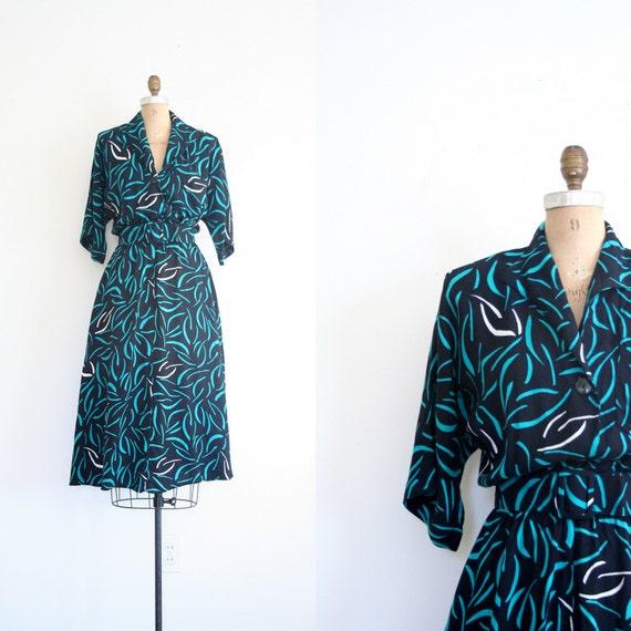 vintage 80's dress - graphic print / New Wave - black & teal rayon / Punk - bat wing
