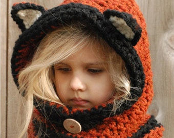 CROCHET PATTERN-Flint Fox Cowl (12/18 months, Toddler, Child, Adult sizes)