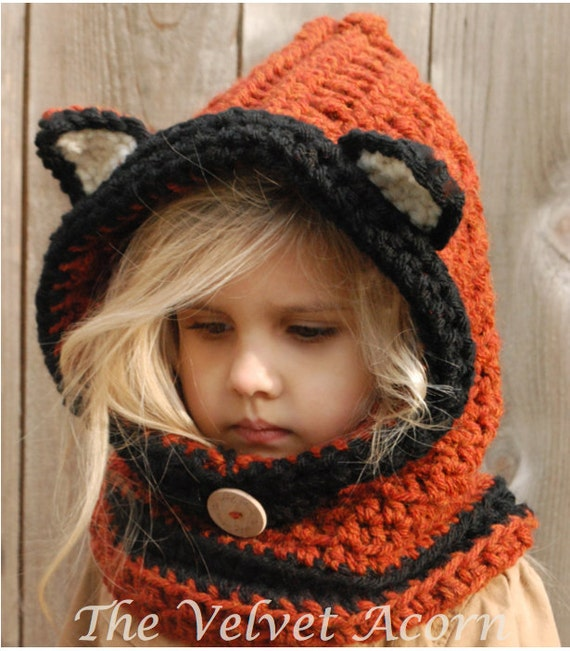 Free Crochet Pattern Toddler Hooded Cowl : CROCHET PATTERN-Flint Fox Cowl 12/18 months Toddler Child