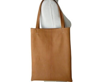 Soft leather tote bag, Tan Leather Tote Bag Women Mens Basic Leather Bag Everyday Soft Leather Tote Goatskin Leather, Honey Tan, in stock