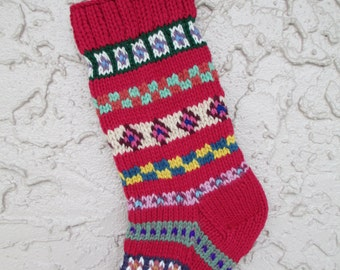 Hand knitted Christmas stocking rose red #2 with FREE US Shipping