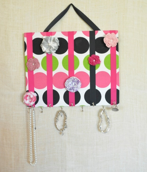 JEWELRY ORGANIZER- Jewelry Bow Board- Black, Green and Pink Large Polka Dots- 11x14 inches, 11 Large Hooks