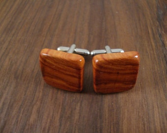 Wooden Men's Cuff Links - Tulip Wood - Wedding, 5 year anniversary, any Special Occasion