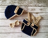 Little Man Suit in Navy and Oatmeal with Matching Diaper Cover, Suspenders and Bow Tie Available in 3 Sizes- MADE TO ORDER