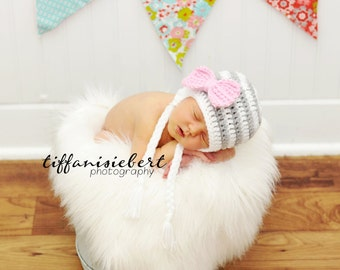 Stripe Big Bow Beanie in White, Gray and Baby Pink Available in Newborn to 5 Year Size- MADE TO ORDER
