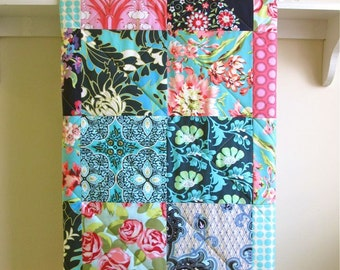 Baby Girl Quilt, Floral Boho Baby Bedding, Minky Quilt, Navy Baby Quilt, Pink Navy Crib Bedding, Aqua, Bohemian Baby Blanket, Bliss Bouquet