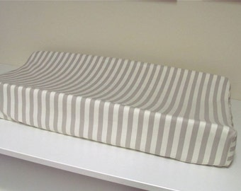 Custom Changing Pad Cover - Contoured - Taza Stripe in Grey and Ivory