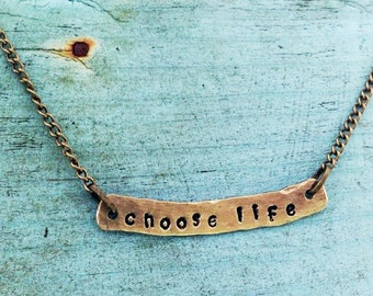 Choose Life Rustic Hand Stamped Brass Necklace Pro Life