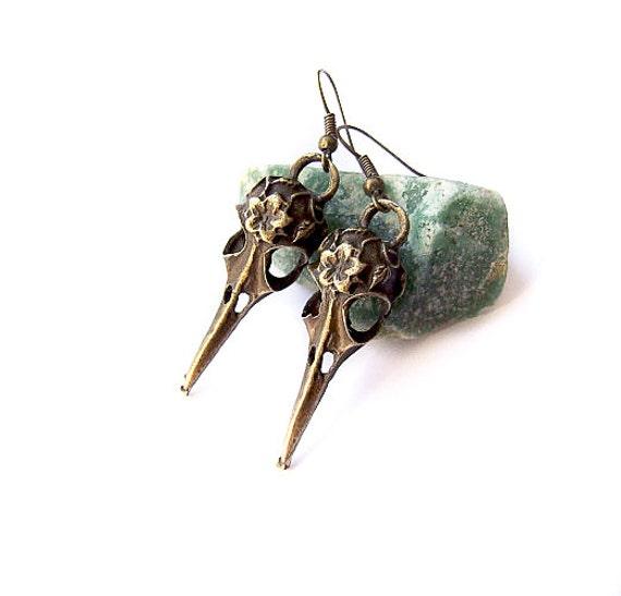 Bird Skull Earrings, Bohemian Gypsy Skull Earrings, Woodland Bird Skull Jewelry