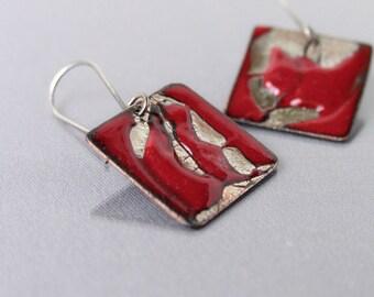 Artisan earrings - handmade OOAK jewelry - red enamel and sterling silver - modern jewelry by Alery