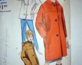 Vintage Vogue 5990 Toggle Coat Jacket Sewing Pattern 1963 Car Coat and Pants 32